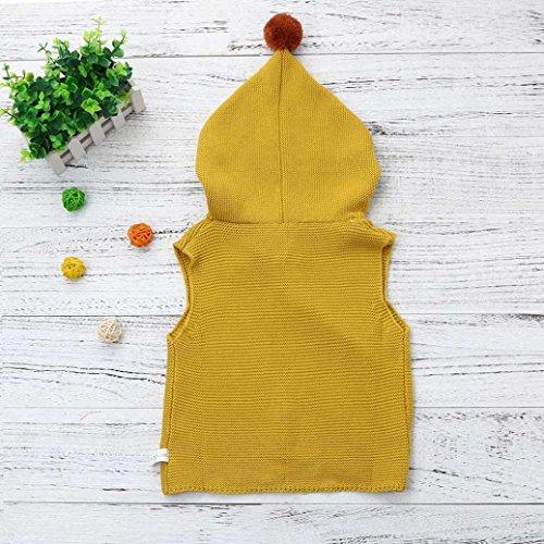 Omiky® Neugeborene Baby Jungen Mädchen Solide Kapuzen Strick Tops Ärmellose Blouese Kleidung Khaki