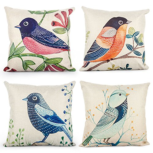 Top Finel Square Decorative Throw Pillow Cases Cotton Linen Outdoor Cushion Covers 18 X 18 for Sofa Bed, Set of 4, Throstle