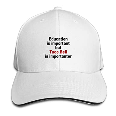 a8695721a8e2b5 Education Is Important But Taco Bell Is Importanter Running Unisex Peaked Cap  Baseball Hat White