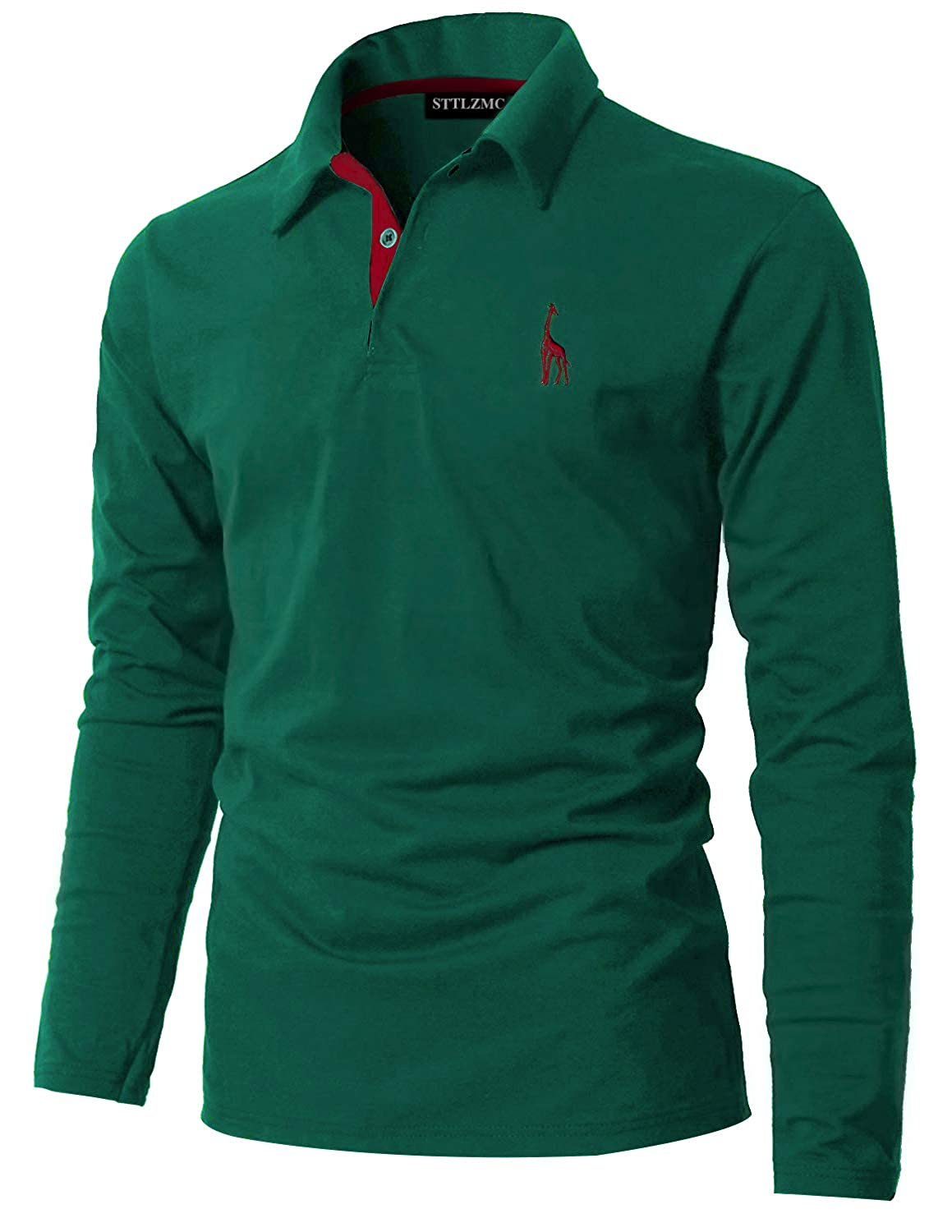 STTLZMC Mens Casual Long Sleeve Polos T-Shirts Basic Designed with Giraffe Embroidery LSMAN01115LSC
