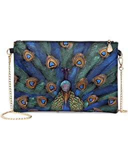 526c651085e ZJFZML Womens PU Leather Envelope Clutch with Chain Strap Printing  Crossbody Bag