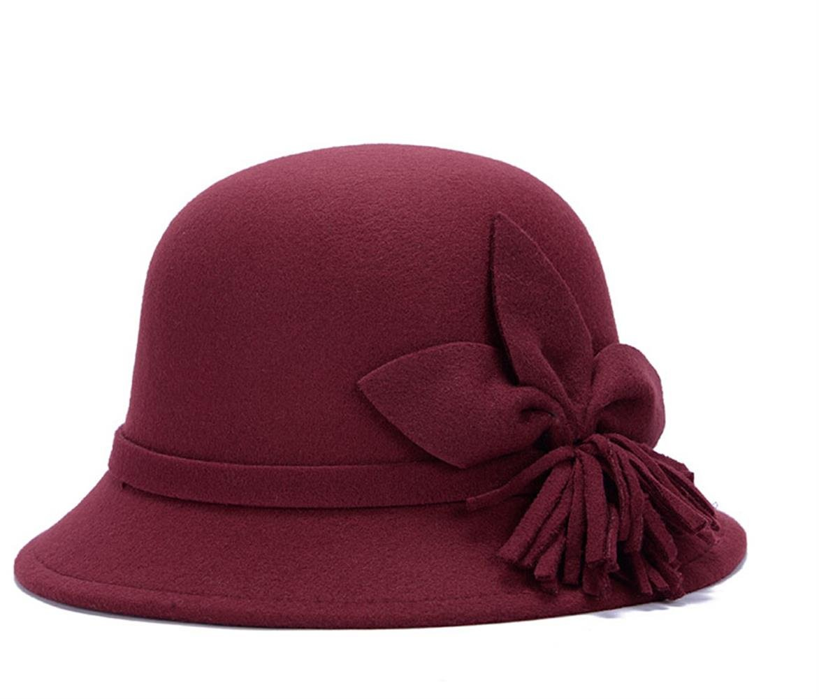 Fahion Style Woolen Cloche Bucket Hat with Flower Accent Winter Hat for Women (Burgundy-C)
