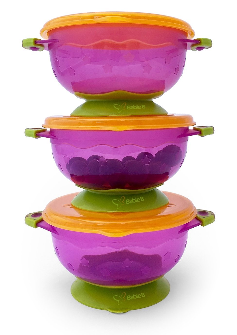 3 Small Size 1st Stage Suction Baby Bowls with Lids- Hold 6oz-Perfect To-Go Bowls for & Travel-BabieB by BabieB   B01G9DPBJ6