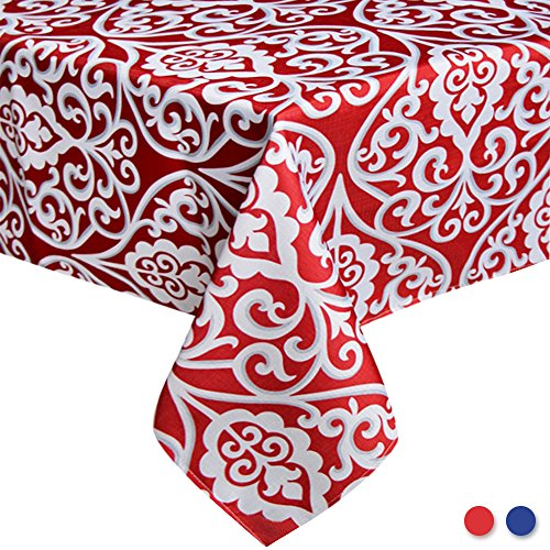 Eforcurtain 60 Inch By 102 Inch Fashion Damask Floral Tablecloth Stain Resistant Polyester Oblong Table Cover Home Decor for Parties, Red and - Home Damask Tablecloth Classic