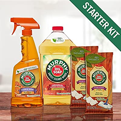 Murphy Oil Soap Wood Cleaner Starter Kit - 32oz Pour, 22oz Spray, 2 packs of 18 Wipes