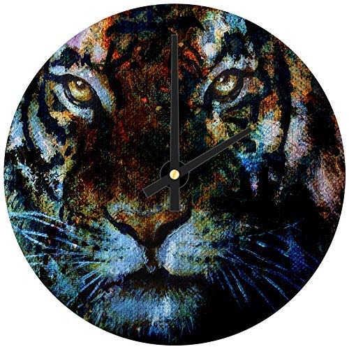 hiusan Tiger Orange Blue Pink Wood Wall Clocks Silent Decorative Living Room,Wall Clocks Non Ticking,for Kids Bedrooms,12in ()