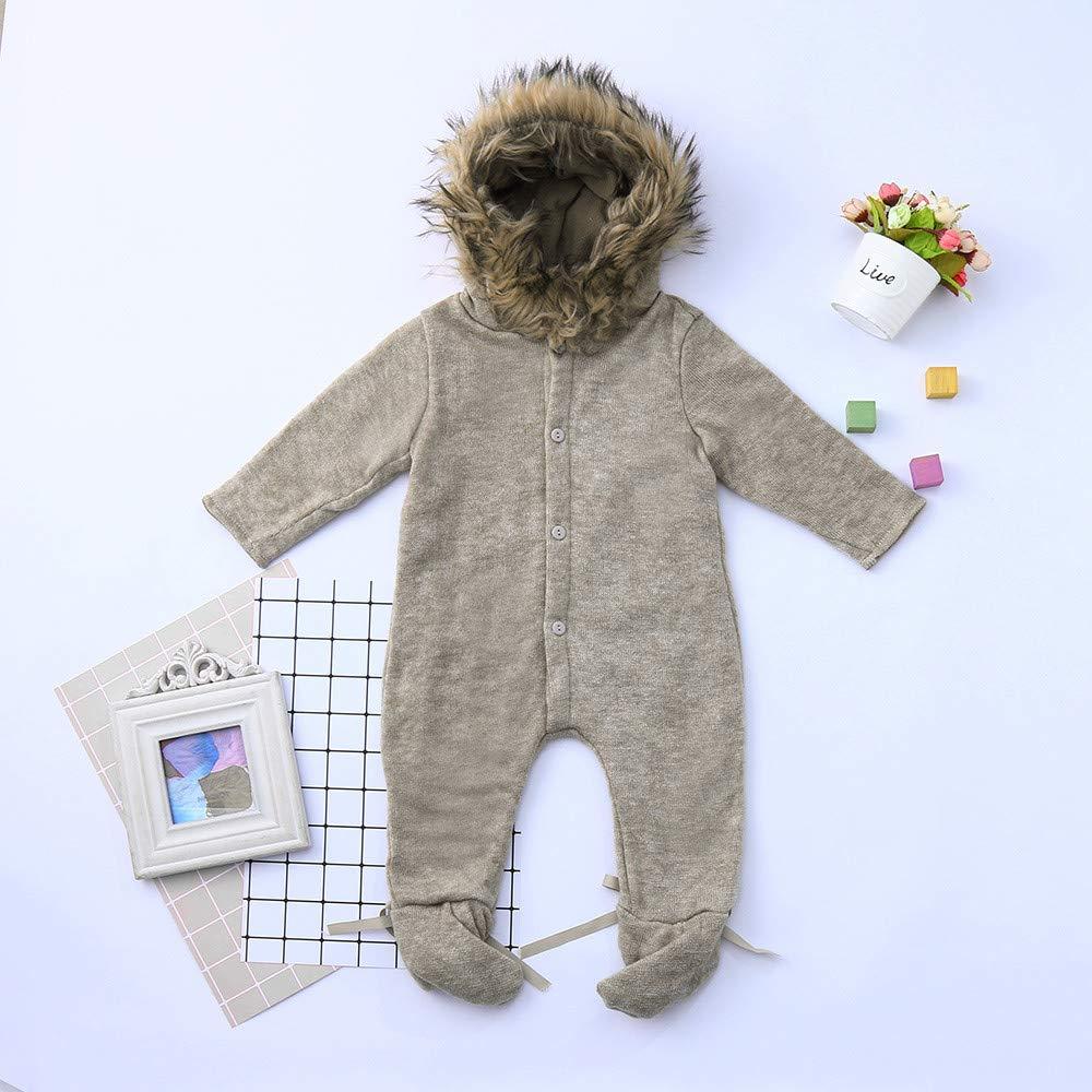 Amlaiworld Monos Bebé Recién Nacido Mono de Invierno Infantil bebé niño niña con Capucha Mameluco Mono de Punto Ropa de Abrigo Abrigada Peleles: Amazon.es: ...