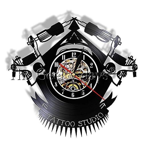 Liushenmeng Reloj de Pared de Disco de Vinilo Tatuaje ...