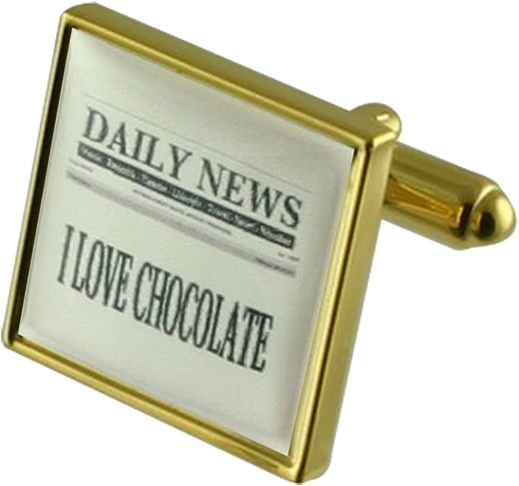 Personalised Newspaper Headline Gold-tone Square Cufflinks with Select Gifts Pouch