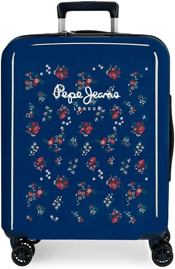 Maleta de cabina Pepe Jeans Taking off rígida 55cm flores, Marino