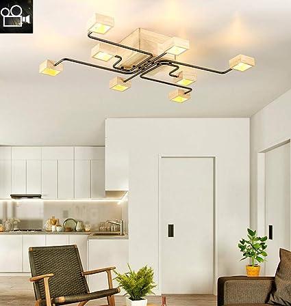 Plafón de Madera LED Lámpara de techo Moderna Sala de estar ...
