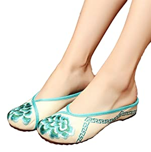 AvaCostume Womens Embroidery Round Toe Flats Slippers Shoes, Green 40