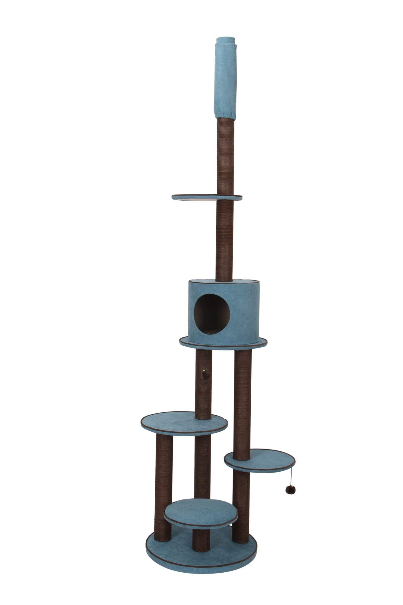 PetPals Summit - Chenille Adjustable Five Level Cat Tree with Paper Rope Post & Condo
