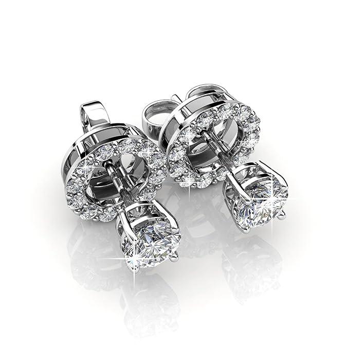 ec9009e76 Amazon.com: 18k White Gold Plated Brass Swarovski Crystal Stud 2 in 1  Earring: Jewelry