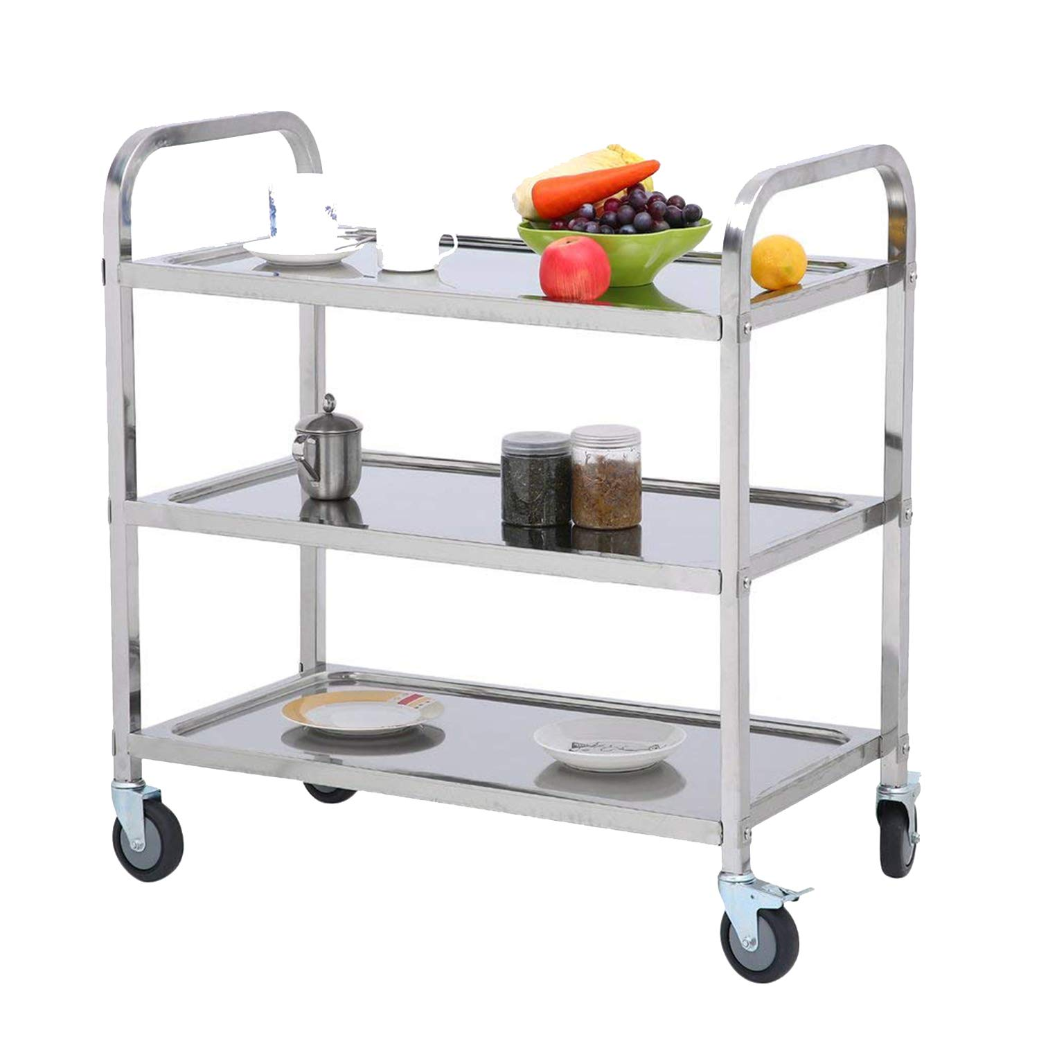 Nisorpa 3 Tier Stainless Steel Utility Cart with Wheels Kitchen Island Trolley Serving Cart Catering Storage Shelf with Locking Wheels for Hotels Restaurant Home Use L30xW16xH33inch by Nisorpa