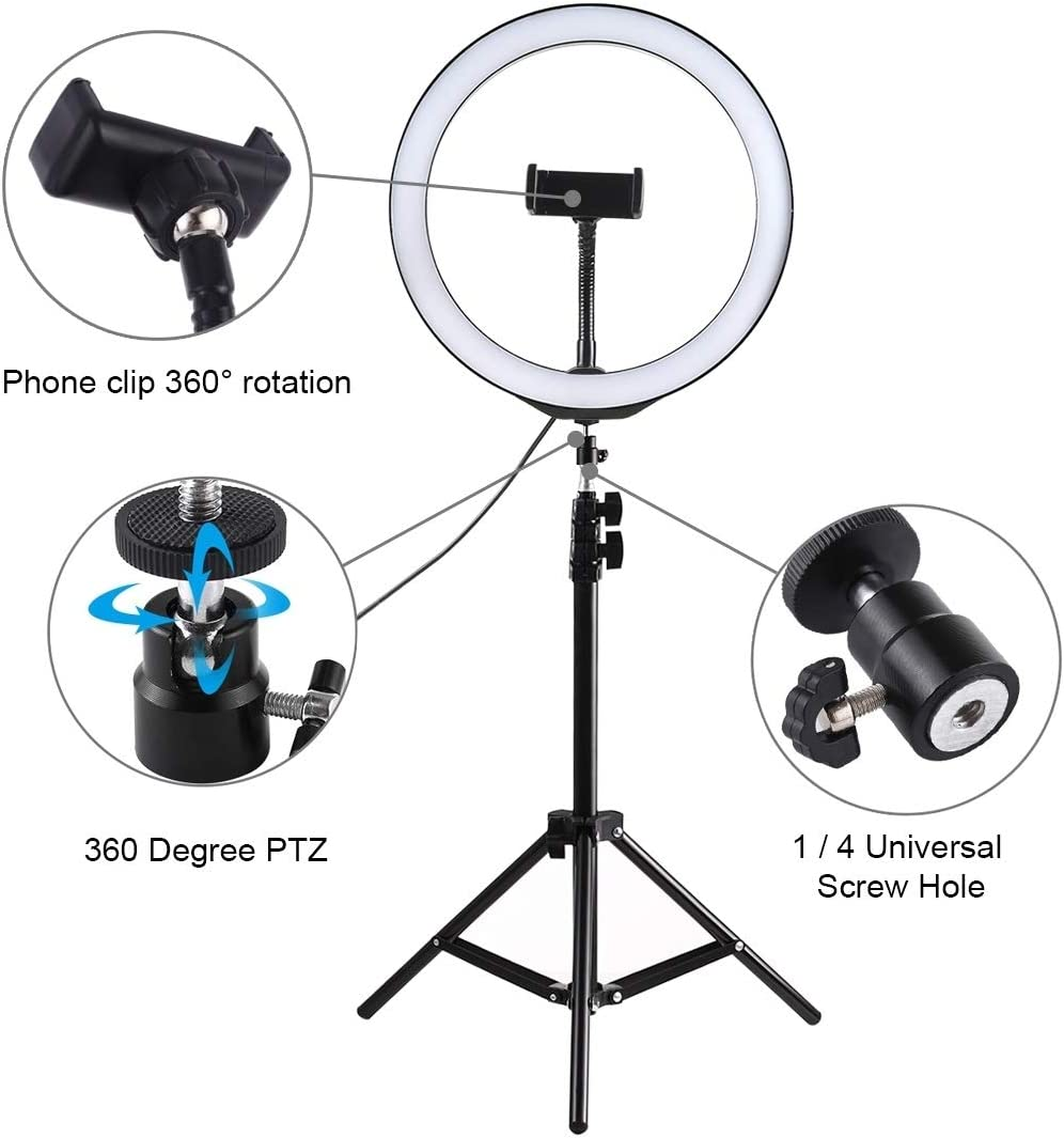 XIAOMIN 1.1m Tripod Mount 10 inch LED Ring Vlogging Video Light Live Broadcast Kits Premium Material