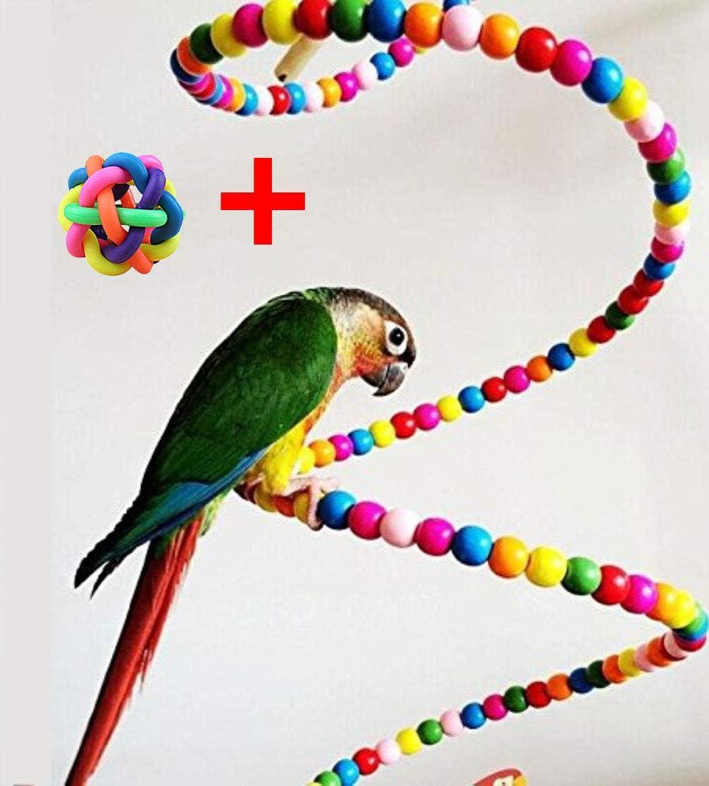 Hianiquaime® Perlas de Madera para Loro Escalera en Espiral Colorida para Pájaros Escalera de Escalar Percas de Pájaros Accesorios de Jaula para Pájaros como Loros Pericos Periquitos 80cm: Amazon.es: Productos para mascotas