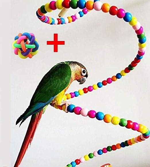 Hianiquaime® Perlas de Madera para Loro Escalera en Espiral Colorida para Pájaros Escalera de Escalar Percas de Pájaros Accesorios de Jaula para Pájaros como Loros Pericos Periquitos 150cm: Amazon.es: Productos para mascotas