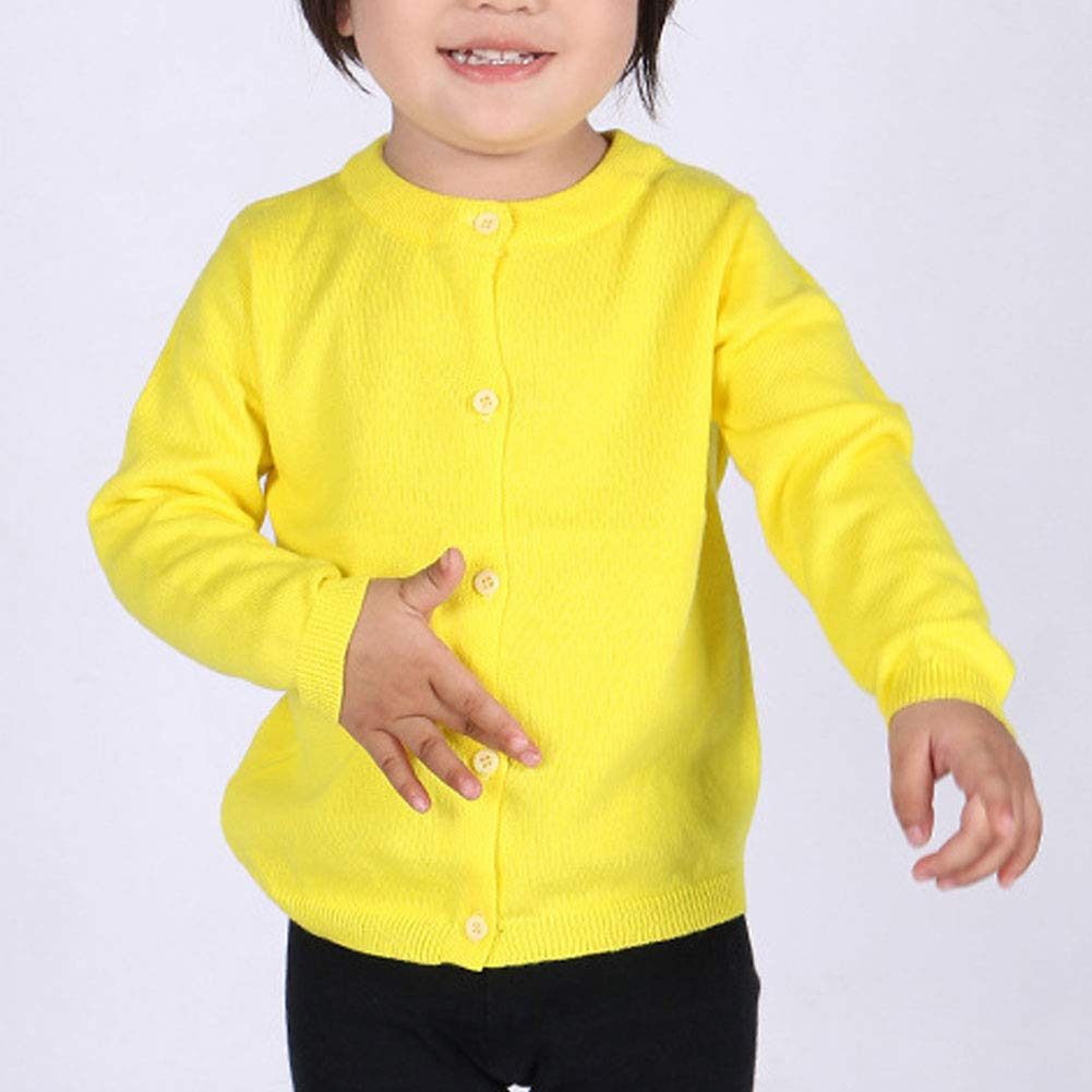 good01 Spring Autumn Winter Warm Sweater Coat,Kids Baby Toddler Girl Solid Candy Color Button Knit Cardigan Black 3Y