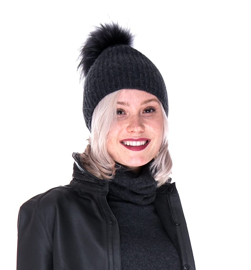 LEBAC 100% Cashmere Beanie Hat Thick Ribbed with Removable Rabbit Pompom  Charcoal at Amazon Women s Clothing store  f3fdcbd49a7
