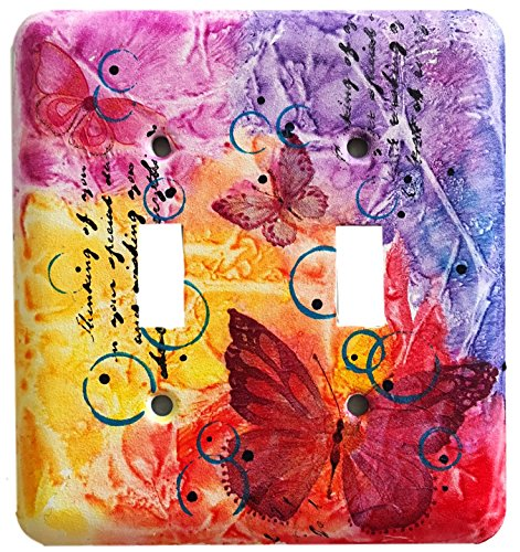 Red Butterfly Original Design Metal Double Toggle, Wall Switch Plate Cover – Home Decorative Mini Art Work, Standard Size by Abstract and Mixed media Art by Kumari de Silva