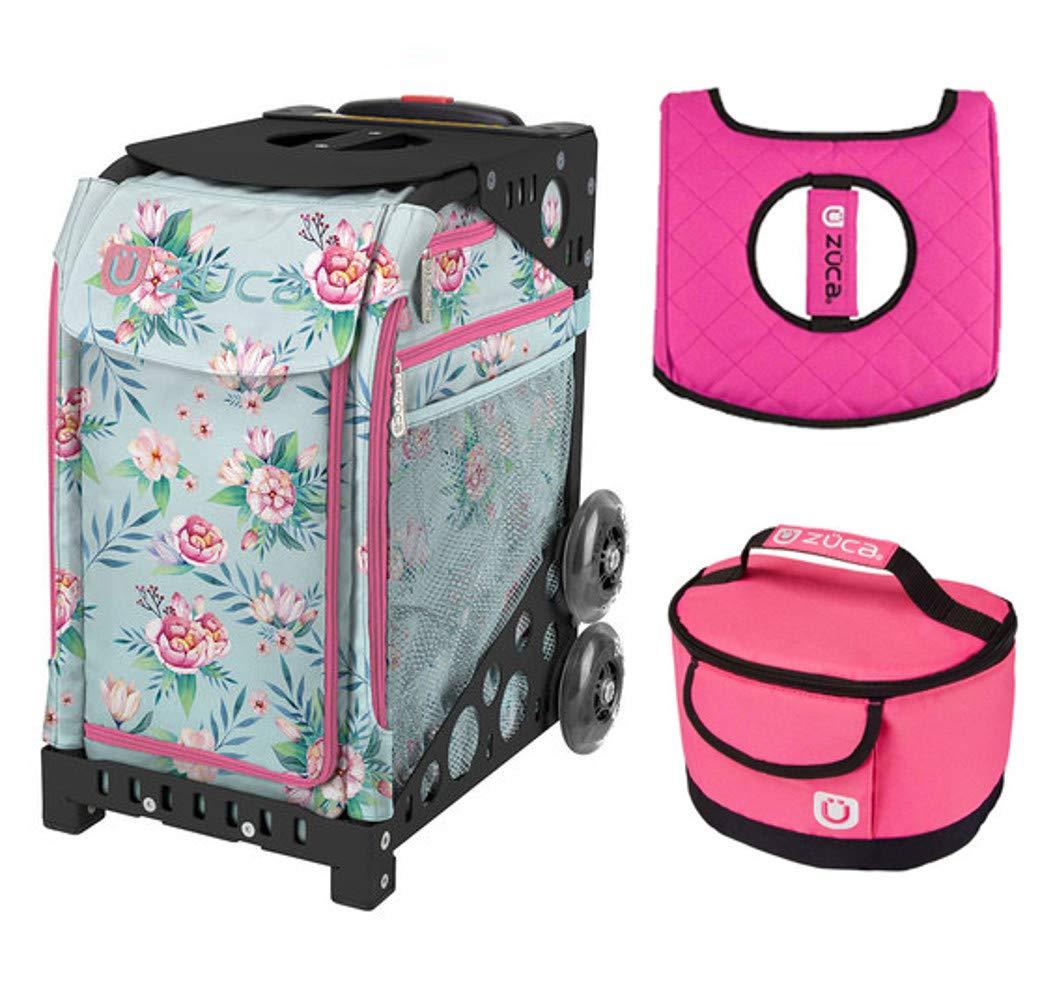 Zuca スポーツバッグ – Blooms ギフトホットピンク/ブラックシートカバーとピンクランチボックス(ブラックフレーム)