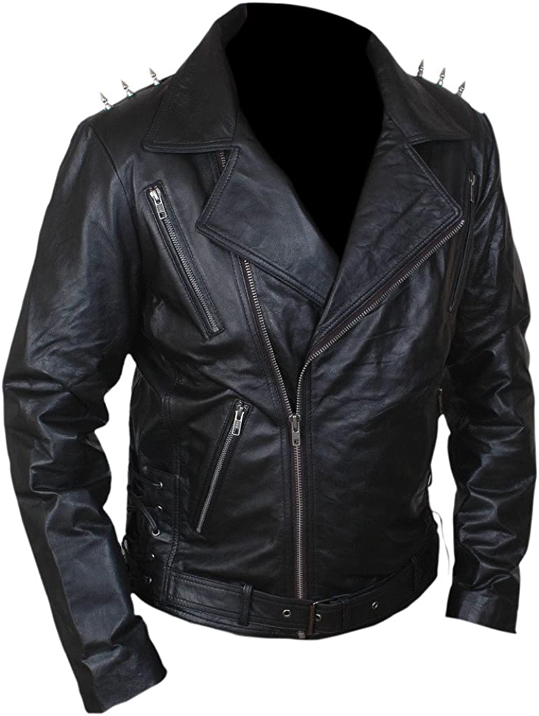 F/&H Mens Ghost Biker Metal Spikes Rider Genuine Leather Jacket 5XL Black