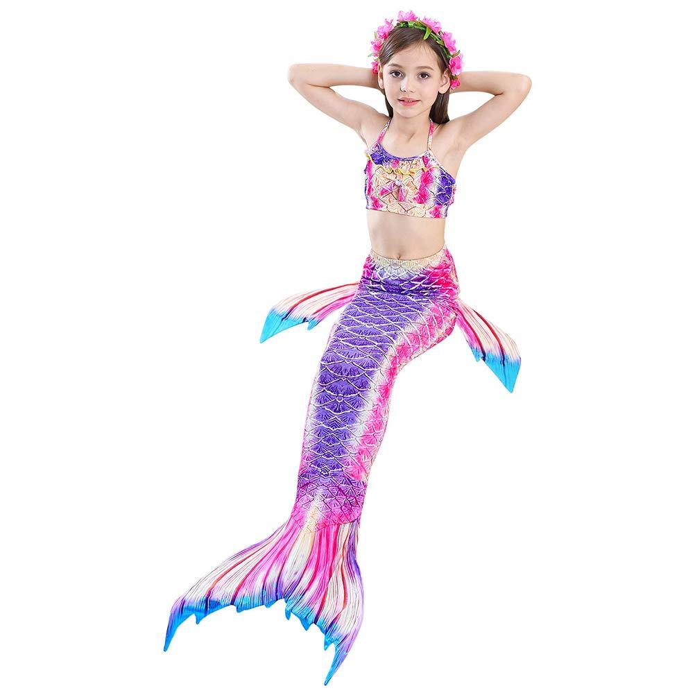 Kylewo 3pcs M/ädchen Meerjungfrauenschwanz Bikini Set M/ädchen Bikini Badeanz/üge Sch/önere Meerjungfrauenschwanz Zum Schwimmen mit Meerjungfrau Flosse