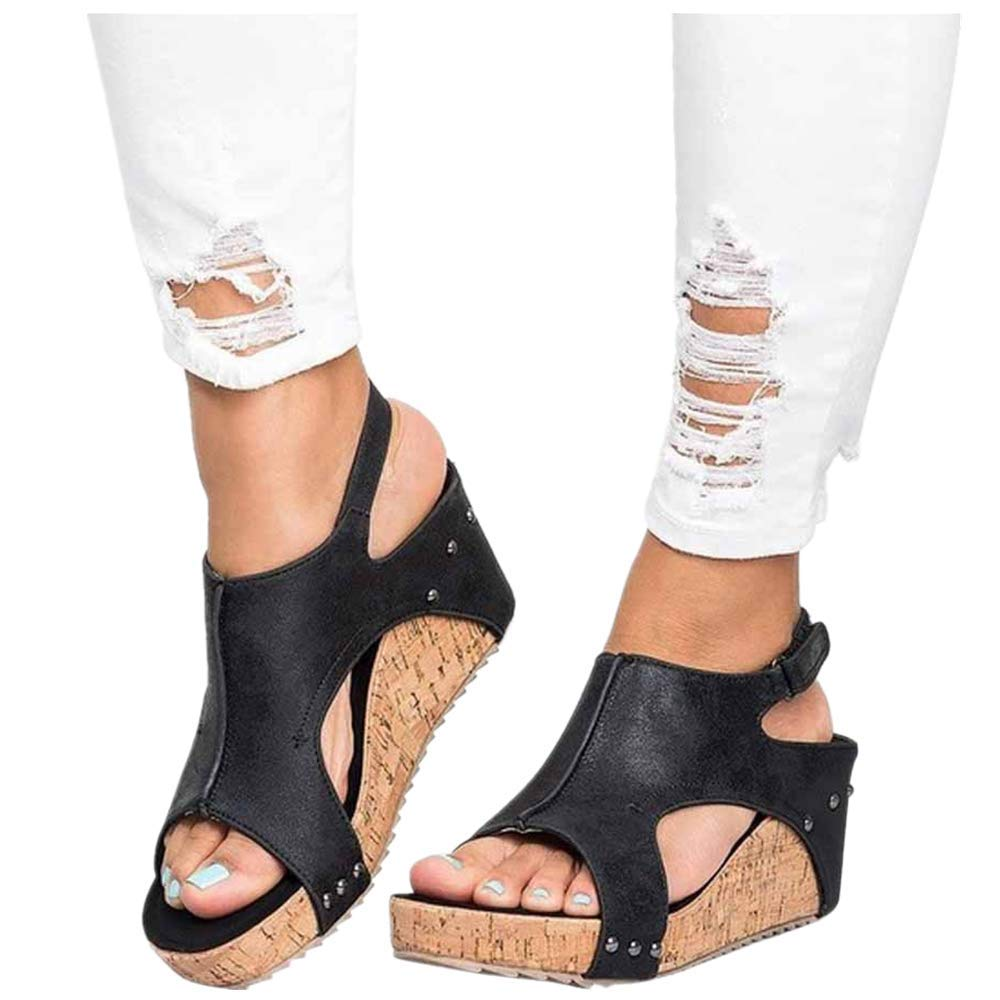Women Open Toe Cutout Buckle Wedges Sandals,Studded Platform Faux Leather Cork High Heels Shoes (US:6.5, Black) by Womens Sandals Hechun