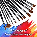 Paint Brushes 12 Pieces Set, Professional Fine Tip Paint Brush Set Round Pointed Tip Nylon Hair artist acrylic brush for Acrylic Watercolor Oil Painting by Crafts 4 ALL (12)