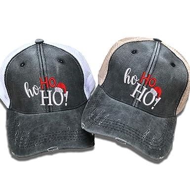 Custom Distressed Trucker Hat Ho Ho Ho Christmas Men Women s Embroidered  Baseball Cap (Black  0a503e28b5