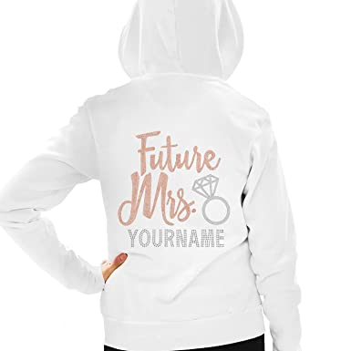 f53b3053d Rose Gold Future Mrs. with Custom Last Name Hoodie - Bride to Be Zip ...