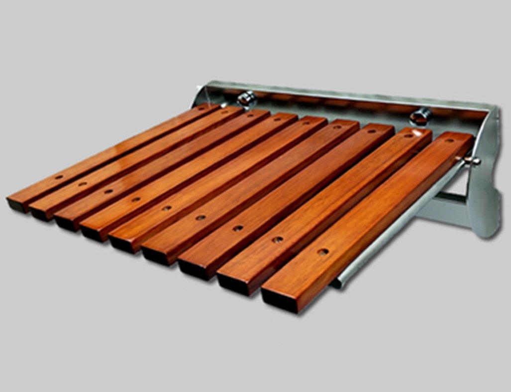 ソリッドウッドスツール表面ステンレススチールフォールドウォールスツールチェアバスルーム折りたたみスツールバスチェア (色 : A, サイズ さいず : L l) B07DMWQ2WC L l|A A L l