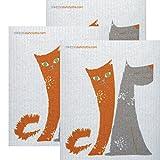 SWEDEdishcloths Dog/Cat Friends Set of 3 each Swedish Dishcloths | ECO Friendly Absorbent Cleaning Cloth | Reusable Cleaning Wipes | Swedish Dish Cloths by
