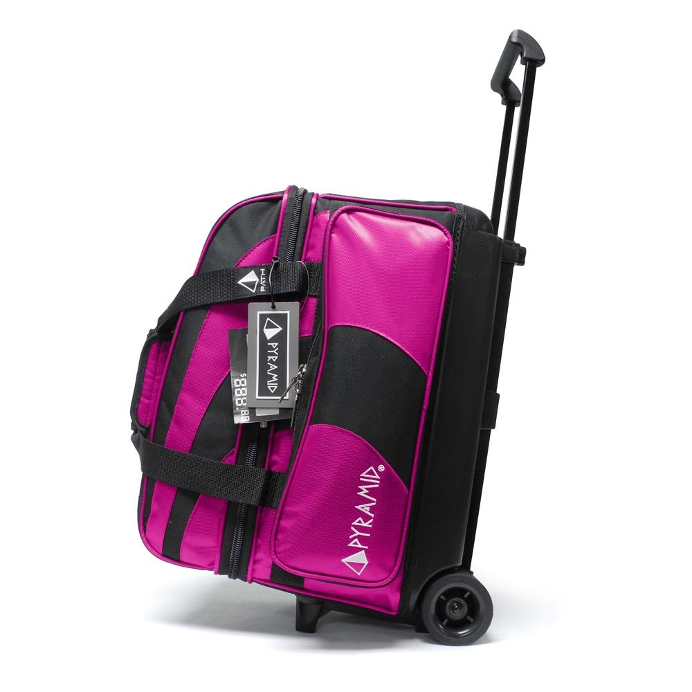 Pyramid Path Deluxe Double Roller Bowling Bag (Black/Hot Pink)