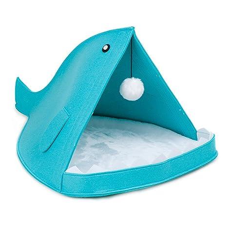 Yiuu Cama Suave De Perros En Forma De Tiburón Casa De Mascotas,Blue,40