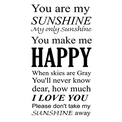 Amazoncom You Are My Sunshine Wall Art Vinyl Decal Nursery Wall
