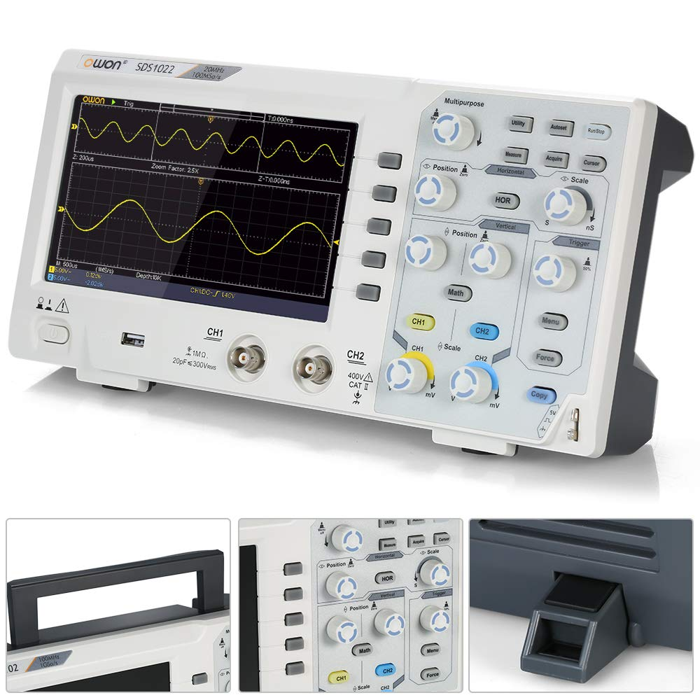 Owon SDS1022 Oscilloscope Oscillometer Digital Storage Oscilloscope 2CH 20MHz 100MS//s 7 LCD Display