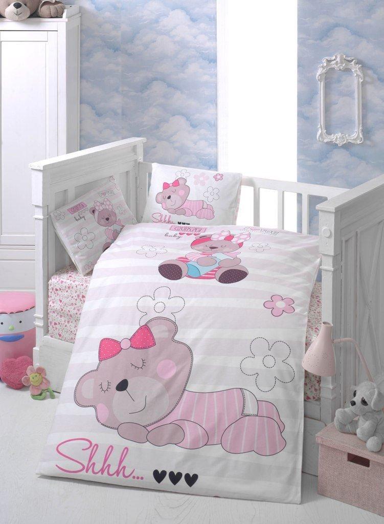 lamodahome 5 pcs Baby Cute Sleepy Bear Lovelyハートピンク花Dreamer幼児用コットン寝具コットン布団セット、トルコ100 %コットンNursery [ withコットンキルト/掛け布団]   B07BV5QVX7