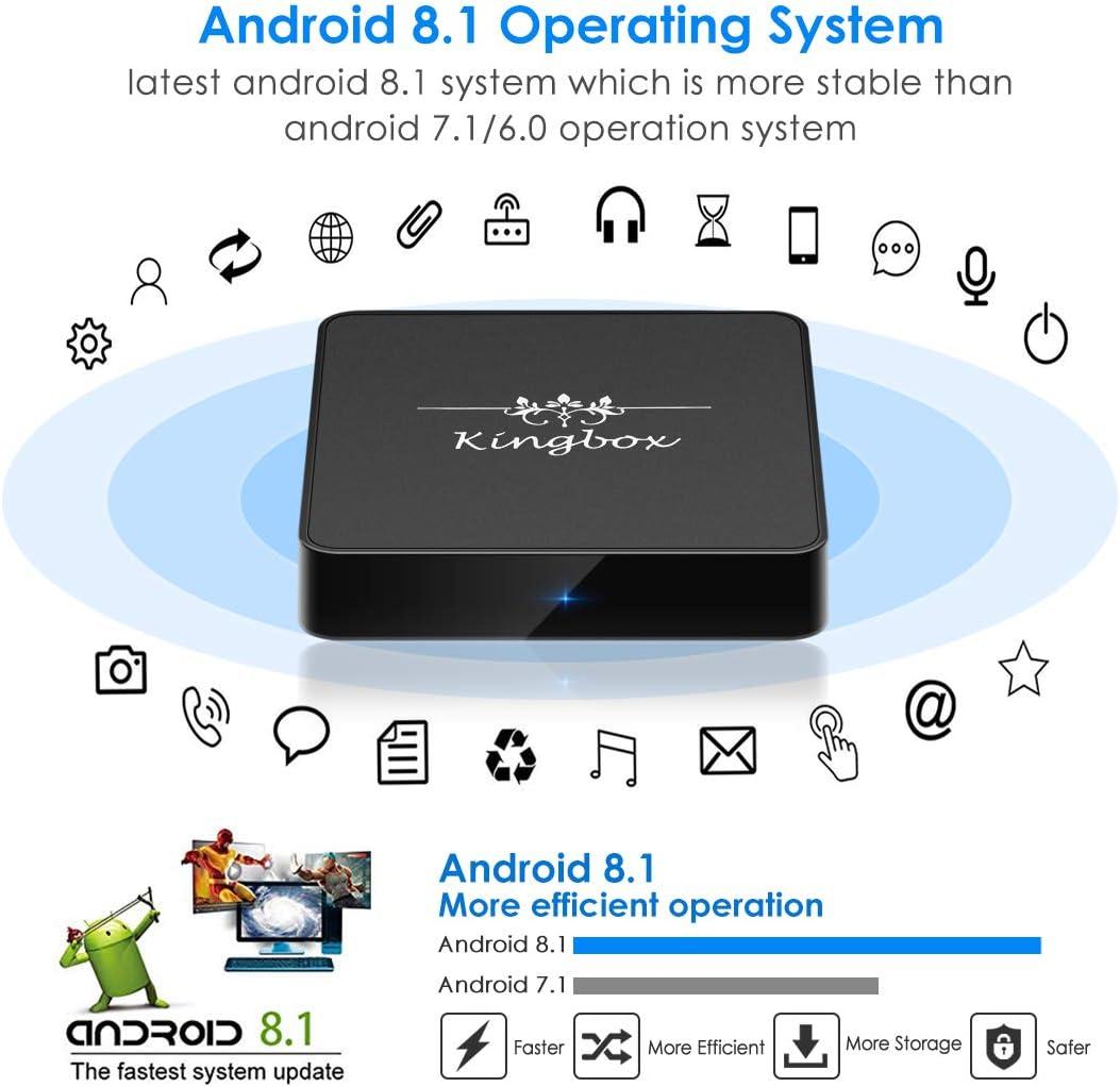 Kingbox Android TV Box 8.1, Modelo X Android Box con 2 GB de RAM 16 GB ROM Quad-Core Soporte WiFi de Doble Banda 2.4 G + 5 G / 4 K /