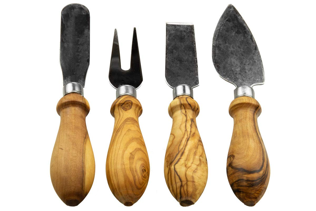 Tramanto Olive Wood Cheese Knives Set of 4 - Stainless Steel with Burled Olive Wood Handles