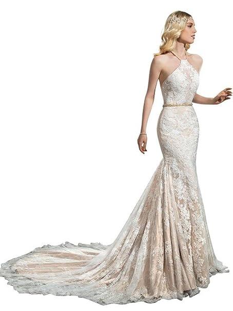 tsbridal encaje sirena para vestido Halter sin espalda boda gownsxc147 – 24