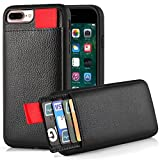 LAMEEKU bnjfr iPhone 7 Plus Wallet Case, iPhone 7 Plus Leather Case, LAMEEKU Protective iPhone 7 Plus Card Holder cases with Credit Card & ID Card Slot, Shockproof Cover - Black