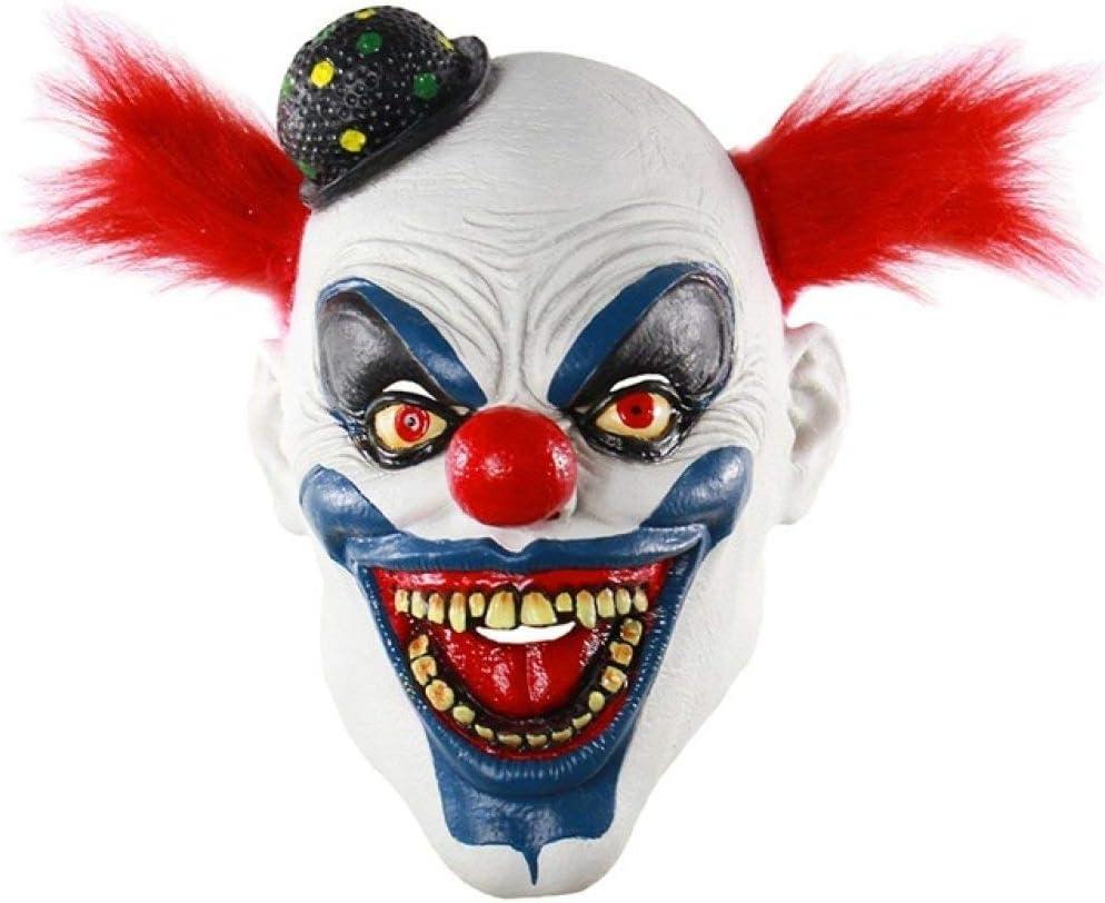 LZNFLY Mascara Máscara de Payaso de Horror de Halloween Máscara de Miedo Horrible Máscara de látex para Adultos Pelo Rojo Payaso de Halloween Máscara de Payaso de Demonio, D