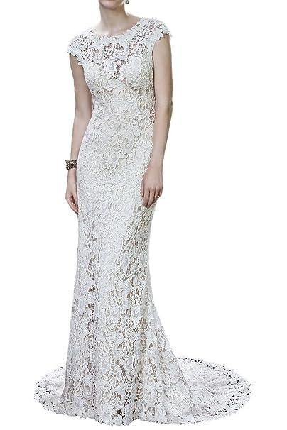 Charmant Mujer Maravillas schoen Blanco Manga Corta funda Vestidos de Boda Vestidos de novia estrecho tipo