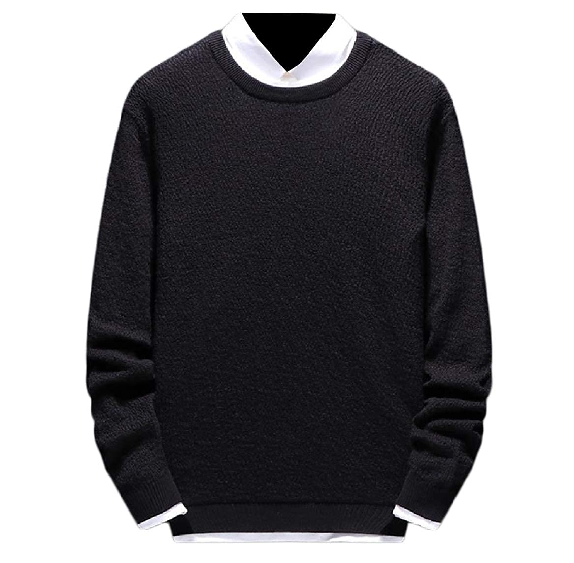 YUNY Men Knitwear Knitting Fall Soft Comfort Fitted Sweater Jumper Black L