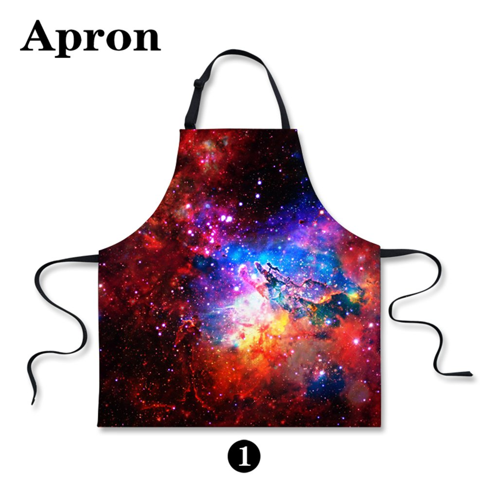 CHAQLIN Trendy Colorful Women Kitchen Cooking Aprons Galaxy Star S-C0161R