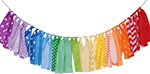 Rainbow Background Banner for Party Decor - Colorful Striped Garland Fabric, Birthday Party Banner, Photo Booth Photo Props, Rainbow Decoration (Rainbow Background High Chair Banner)