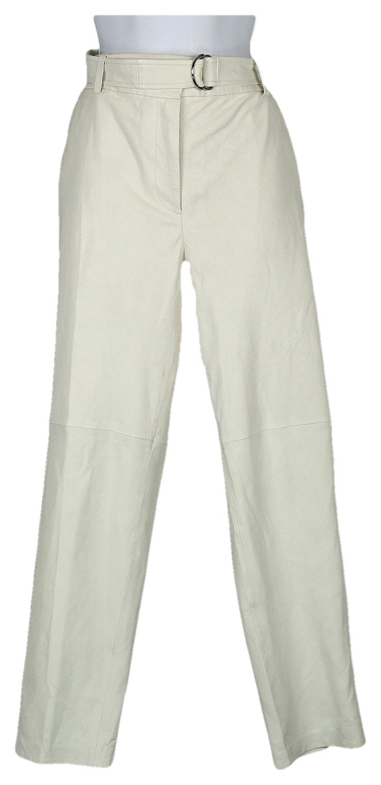 J Crew Collection Leather Pants in White with D Ring Sz 8 Style C5650 by J.Crew