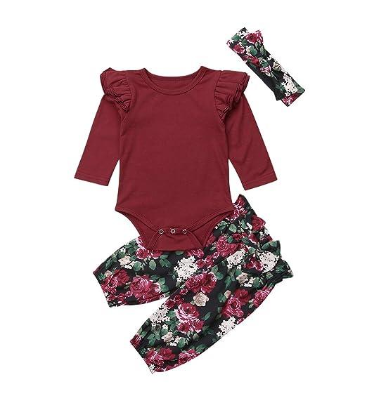 0a9eb2e70 Amazon.com  3PCS Clothes Set Newborn Toddler Baby Girl Romper ...